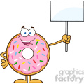 8678 Royalty Free RF Clipart Illustration Happy Donut Cartoon Character With Sprinkles Holding Up A Blank Sign Vector Illustration Isolated On White