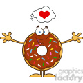 8696 Royalty Free RF Clipart Illustration Chocolate Donut Cartoon Character With Sprinkles Thinking Of Love And Wanting A Hug Vector Illustration Isolated On White
