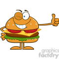 8567 Royalty Free RF Clipart Illustration Winking Hamburger Cartoon Character Showing Thumbs Up Vector Illustration Isolated On White