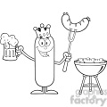 8474 royalty free rf clipart illustration black and white happy king sausage cartoon character holding a beer and weenie next to bbq vector illustration isolated on white gif, png, jpg, eps, svg, pdf