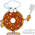 8690 Royalty Free RF Clipart Illustration Chocolate Chef Donut Cartoon Character With Sprinkles Holding A Slotted Spatula Vector Illustration Isolated On White