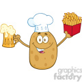 8795 Royalty Free RF Clipart Illustration Chef Potato Cartoon Character Holding Fries And Holding A Beer Vector Illustration Isolated On White