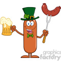 8438 Royalty Free RF Clipart Illustration Leprechaun Sausage Cartoon Character Holding A Beer And Weenie On A Fork Vector Illustration Isolated On White