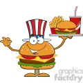8582 Royalty Free RF Clipart Illustration American Hamburger Cartoon Character Holding A Platter With Burger, French Fries And A Soda Vector Illustration Isolated On White