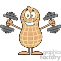 8629 royalty free rf clipart illustration smiling peanut cartoon character training with dumbbells vector illustration isolated on white gif, png, jpg, eps, svg, pdf