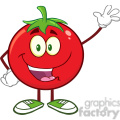 8386 Royalty Free RF Clipart Illustration Happy Tomato Cartoon Mascot Character Waving Vector Illustration Isolated On White