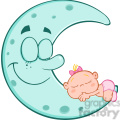 royalty free rf clipart illustration cute baby girl sleeps on blue moon cartoon characters  gif, png, jpg, eps, svg, pdf