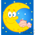royalty free rf clipart illustration cute baby girl sleeps on the smiling moon over blue sky with stars gif, png, jpg, eps, svg, pdf