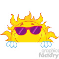 Royalty Free RF Clipart Illustration Smiling Sun With Sunglasses Over A Sign Board