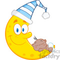 Royalty Free RF Clipart Illustration Cute African American Baby Boy Sleeps On The Smiling Moon With Sleeping Hat