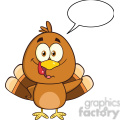 8974 Royalty Free RF Clipart Illustration Cute Turkey Bird Cartoon Character Waving With Speech Bubble Vector Illustration Isolated On White vector clip art image