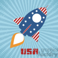 8318 Royalty Free RF Clipart Illustration Retro Rocket With USA Flag Concept Vector Illustration With Text
