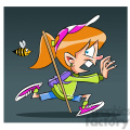 trina the cartoon girl character running from a bee  gif, png, jpg, eps, svg, pdf