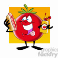 tom the cartoon tomato character eating a hotdog