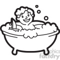 boy in the bathtub black and white outline