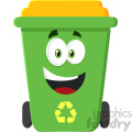 royalty free rf clipart illustration happy green recycle bin cartoon character modern flat design illustration isolated on white background gif, png, jpg, eps, svg, pdf