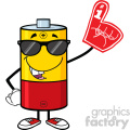 royalty free rf clipart illustration funny battery cartoon mascot character with sunglases wearing a foam finger vector illustration isolated on white