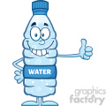 royalty free rf clipart illustration smiling water plastic bottle cartoon mascot character giving a thumb up vector illustration isolated on white