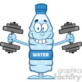 royalty free rf clipart illustration funny water plastic bottle cartoon mascot character working out with dumbbells vector illustration isolated on white