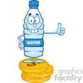 royalty free rf clipart illustration smiling water plastic bottle cartoon mascot character giving a thumb up and standing on coins vector illustration isolated on white