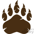 royalty free rf clipart illustration brown bear paw with claws vector illustration isolated on white background