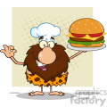 9910 chef male caveman cartoon mascot character holding a big burger and gesturing ok vector illustration