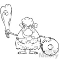 black and white happy cave woman cartoon mascot character holding a club and showing whell vector illustration