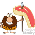 9915 smiling male caveman cartoon mascot character holding a spear with big raw steak vector illustration gif, png, jpg, eps, svg, pdf