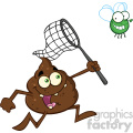 royalty free rf clipart illustration funny poop cartoon character catching a fly with a net vector illustration isolated on white backgrond