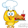 royalty free rf clipart illustration chef yellow chick cartoon character holding a fast food tray vector illustration isolated on white