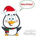 royalty free rf clipart illustration cute christmas penguin cartoon character with open wings and speech bubble and text vector illustration isolated on white gif, png, jpg, eps, svg, pdf