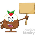 royalty free rf clipart illustration happy christmas pudding cartoon character holding up a blank wood sign vector illustration isolated on white