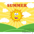 royalty free rf clipart illustration sunshine happy sun mascot cartoon character over landscape vector illustration with suburst background and text summer