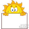 royalty free rf clipart illustration cheerful sun cartoon mascot character over a sign blank board vector illustration isolated on white background gif, png, jpg, eps, svg, pdf
