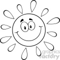 royalty free rf clipart illustration black and white happy sun cartoon mascot character vector illustration isolated on white background