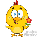 royalty free rf clipart illustration cute yellow chick cartoon character holding a flower vector illustration isolated on white