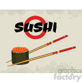 9406 illustration sushi roll with chopsticks vector illustration with text and background
