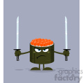 illustration angry sushi roll cartoon mascot character ready to fight with two katana swords vector illustration flat style with background