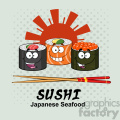 9400 illustration sushi roll set cartoon characters with chopsticks and text vector illustration with background