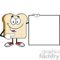 illustration talking bread slice cartoon mascot character pointing to a blank sign vector illustration isolated on white background