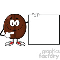 illustration smiling coffee bean cartoon mascot character pointing to a blank sign vector illustration isolated on white