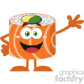 illustration funny sushi roll cartoon mascot character waving vector illustration flat style isolated on white