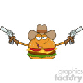 illustration cowboy burger cartoon mascot character holding up two revolvers vector illustration isolated on white background