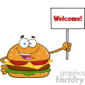 illustration burger cartoon mascot character holding a sign with text wellcome vector illustration isolated on white background