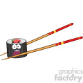 illustration panic sushi roll cartoon mascot character with chopsticks vector illustration isolated on white