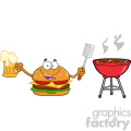 illustration happy burger cartoon mascot character holding a beer and bbq slotted spatula by a grill vector illustration isolated on white background gif, png, jpg, eps, svg, pdf
