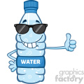 illustration cartoon ilustation of a water plastic bottle mascot character with sunglasses giving a thumb up vector illustration isolated on white background