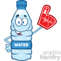 illustration cartoon ilustation of a water plastic bottle mascot character wearing a foam finger vector illustration isolated on white background