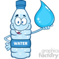 illustration cartoon ilustation of a water plastic bottle mascot character holding a water drop vector illustration isolated on white background