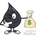 royalty free rf clipart illustration winking petroleum or oil drop cartoon character holding a money savings bag vector illustration isolated on white background gif, png, jpg, eps, svg, pdf
